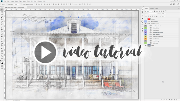Animated Architecture Sketch and Blueprint Photoshop Action - 1