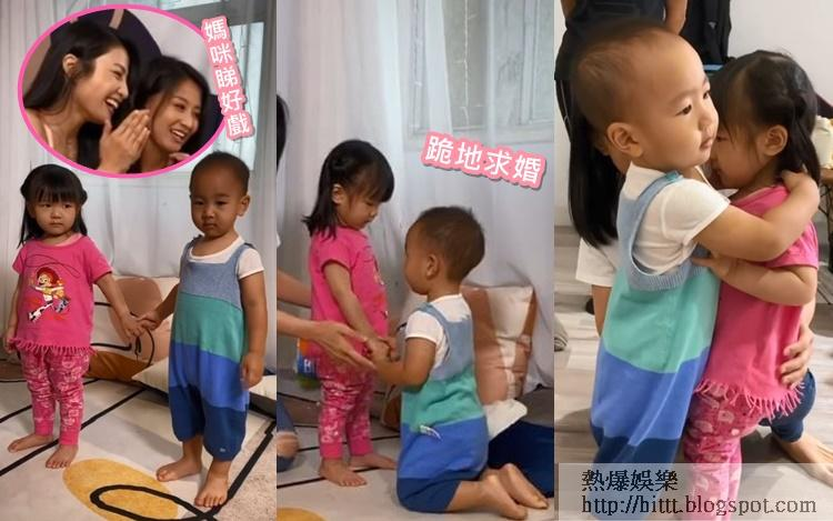 林芊妤和陳倩揚昨日分別帶囝囝翟伯伯和囡囡Aurella去拍片。