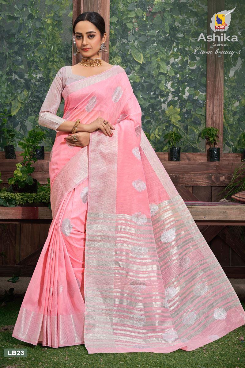 Pink Color Linen Fabric  Casual Zari Work Saree