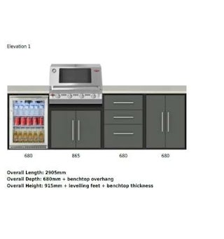 Beefeater Outdoor Kitchen Fresco 4 Module Package with Bbq Fridge Bayside