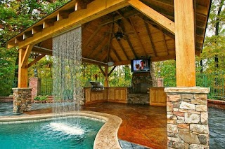 Backyard Designs with Pool and Outdoor Kitchen Incredible Design