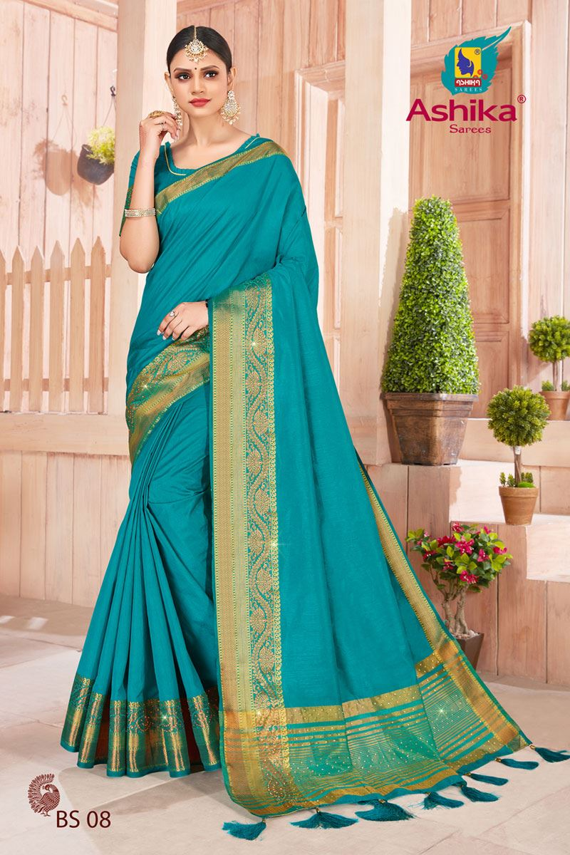 Rama Color Art Silk Fabric Stone Work Fancy Saree