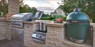 Outdoor Kitchen with Green Egg Charcoalgrillbigdesign Outofhome