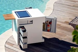 Compact Outdoor Kitchen Mobile Mini Summer Barbecue Party By The Pool Or