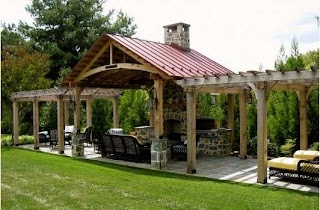 Outdoor Kitchen Structures with Structure Shielding Bad Weather I