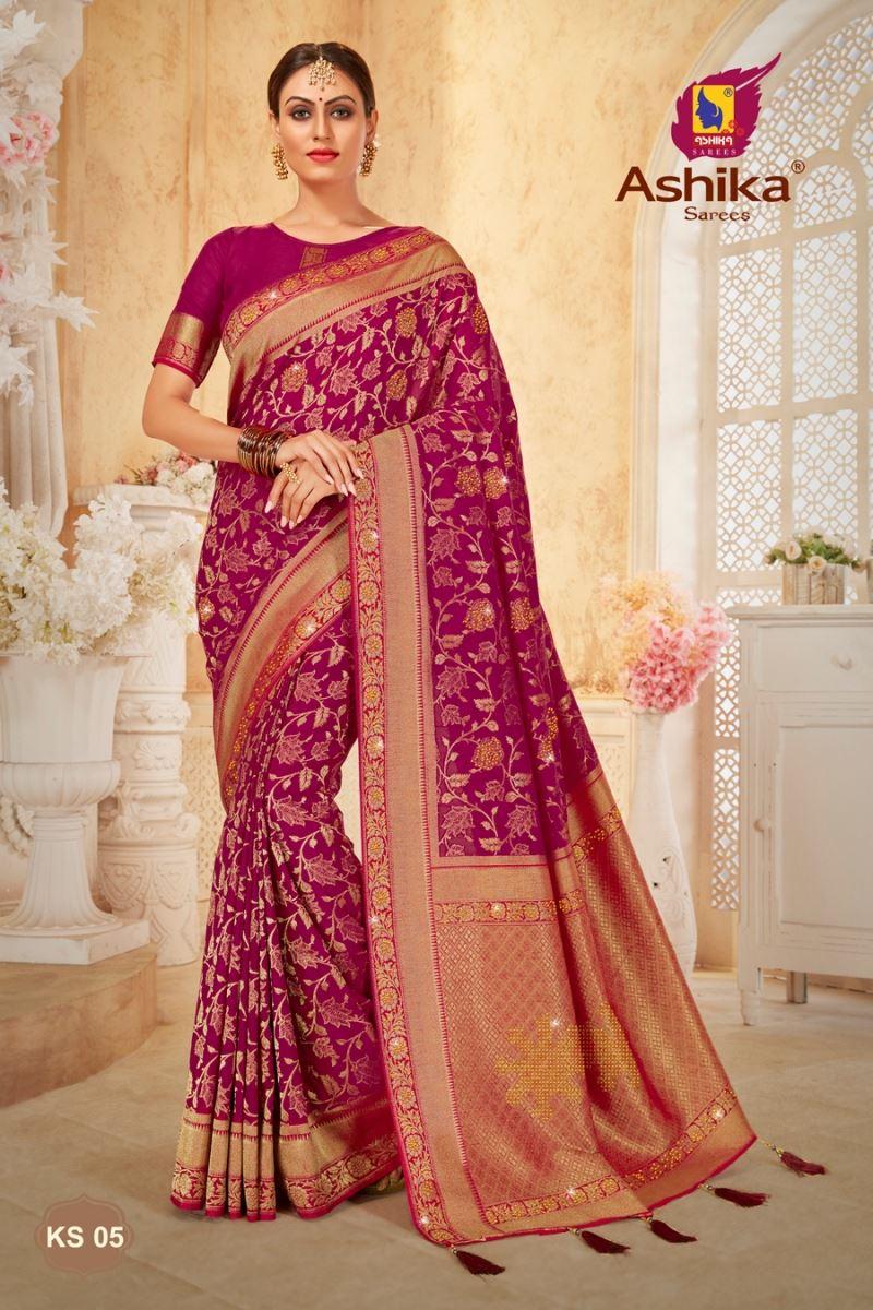Magenta Color Art Silk Fabric Stone Work Sangeet Wear Designer Saree