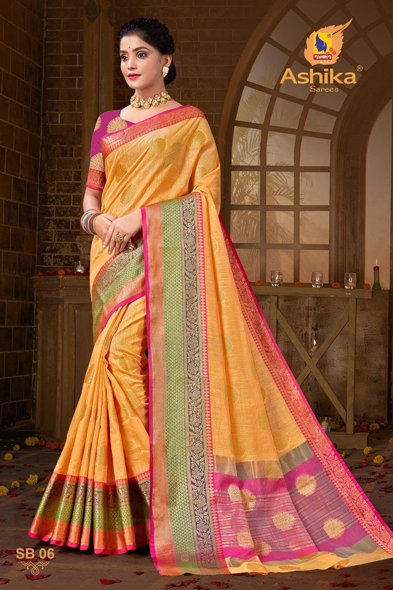 Orange Color Zari Work Designer Cotton Silk Fabric Function Wear Saree
