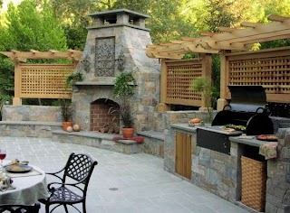Outdoor Kitchen Fireplace Withandpizzaoven Eva Furniture