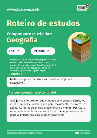 MATRIZ ENERGETICA MUNDIAL E OS RECURSOS ENERGETICOS SUSTENTAVEIS