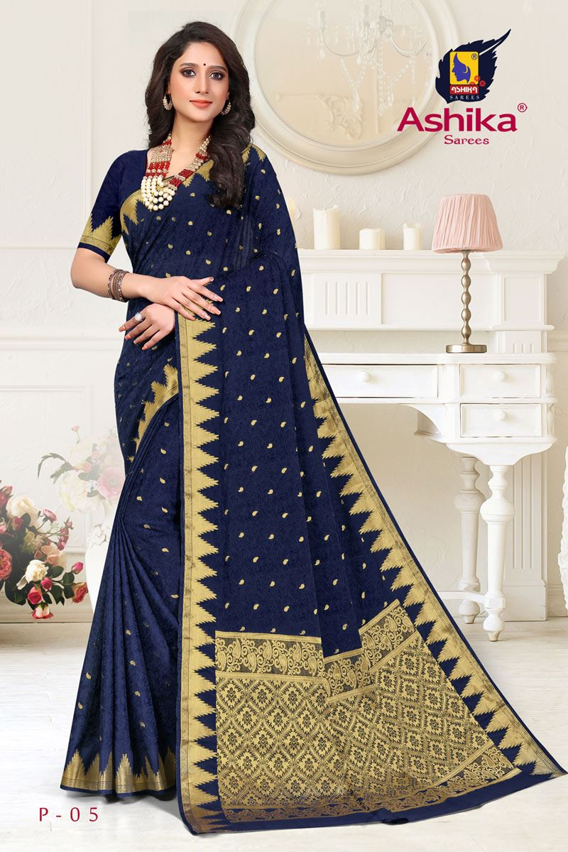 Navy Blue Color Crepe Fabric Function Wear Weaving Work Saree