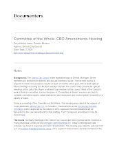 Committee of the Whole- CBO Amendments Hearing