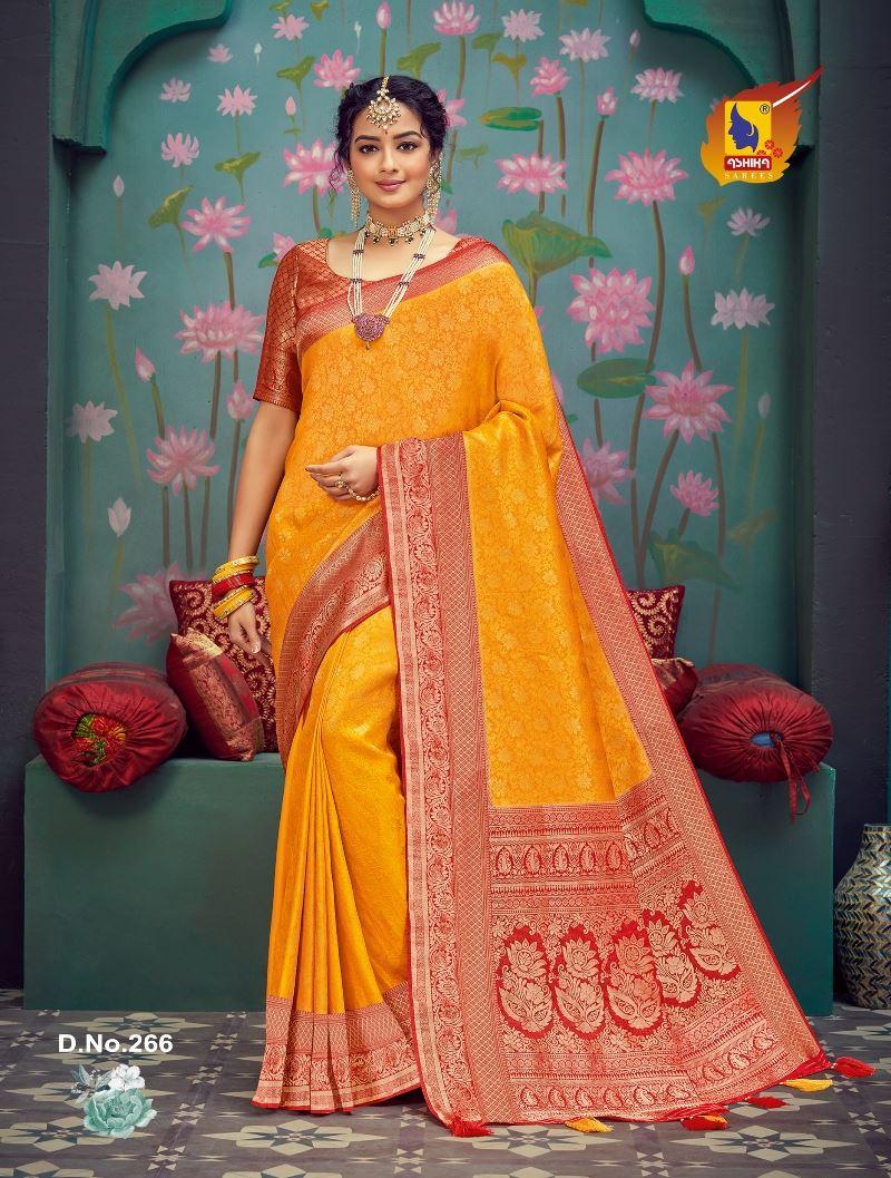 Gold Color Silk Fabric Zari Work Fancy Saree
