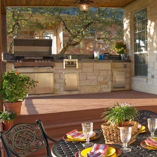 Kitchen Outdoors Brick Outdoor on Wood Deck Archadeck Outdoor Living