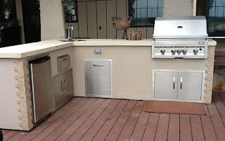 Outdoor Kitchen Stucco Finish Flo Grills in The Showroom at Flo
