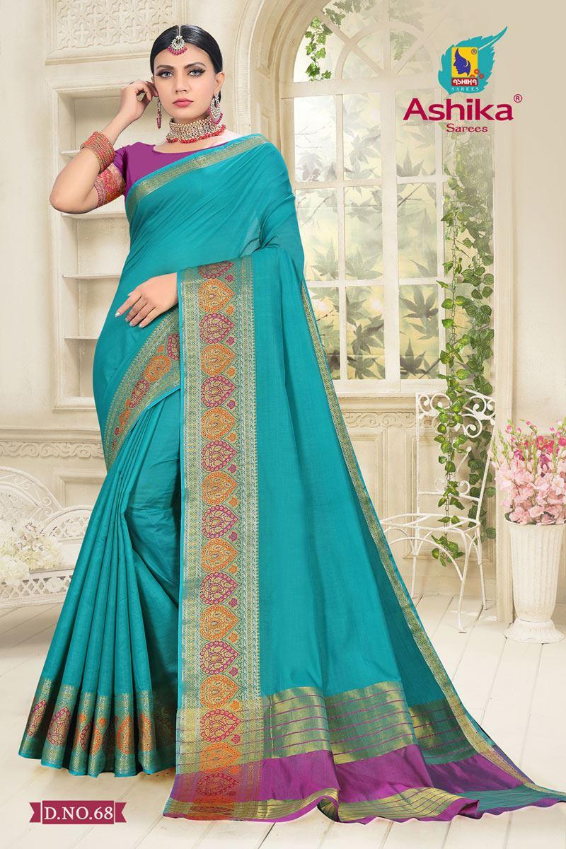 Cyan Color Cotton Silk Fabric Reception Wear Border Work Saree