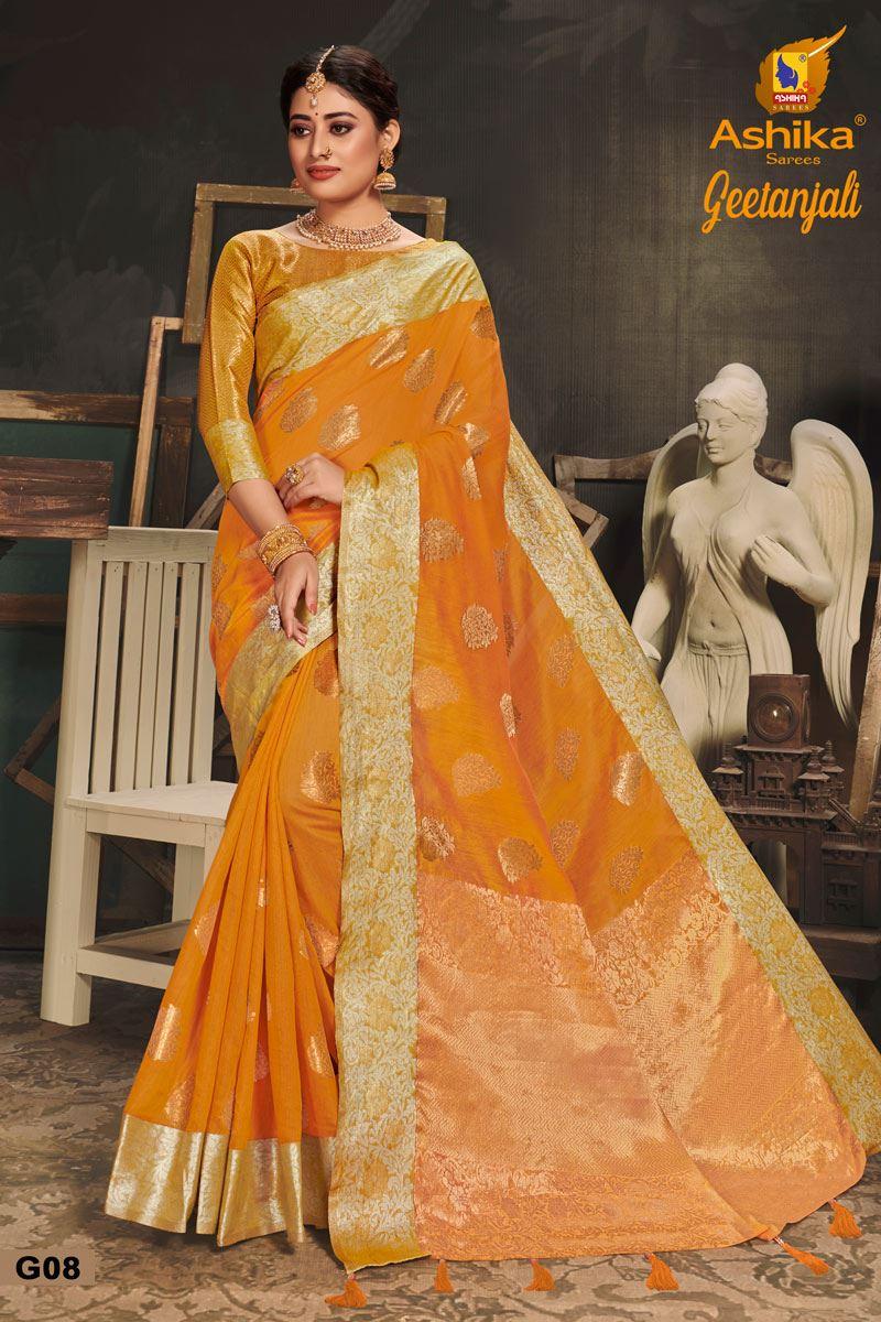 Mustard Color Cotton Silk Fabric Trendy Weaving Work Saree