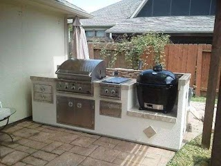 Outdoor Kitchen with Charcoal Grill Counter Both a Gas a Primo