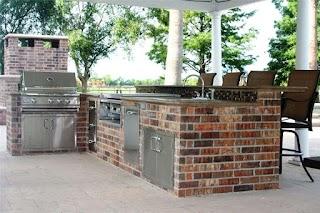 Brick Outdoor Kitchen Barbeque Veneer Landscaping Network