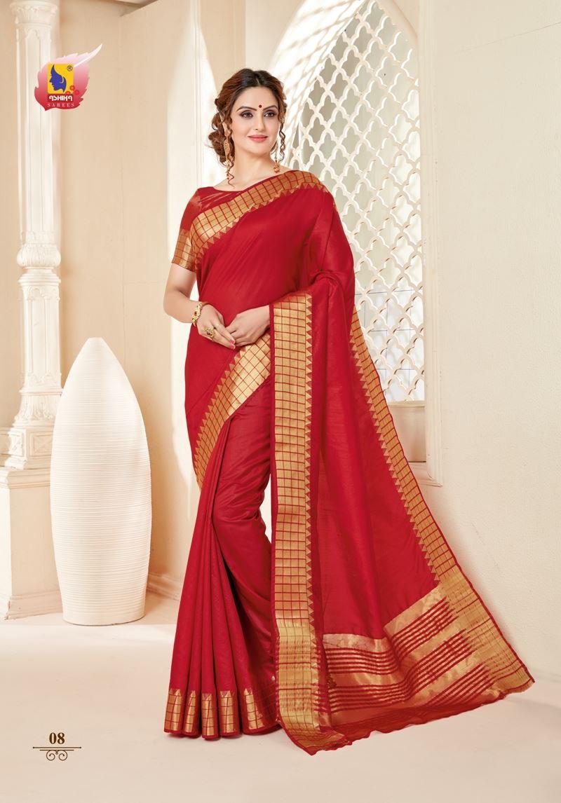 Red Colour Cotton Silk Saree