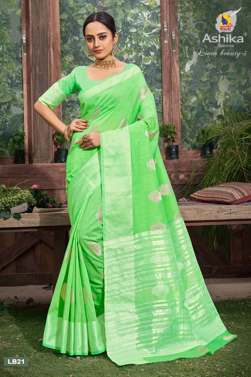 Green Color Linen Fabric  Casual Zari Work Saree