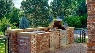 Outdoor Brick Kitchen Designs with Pool Designs