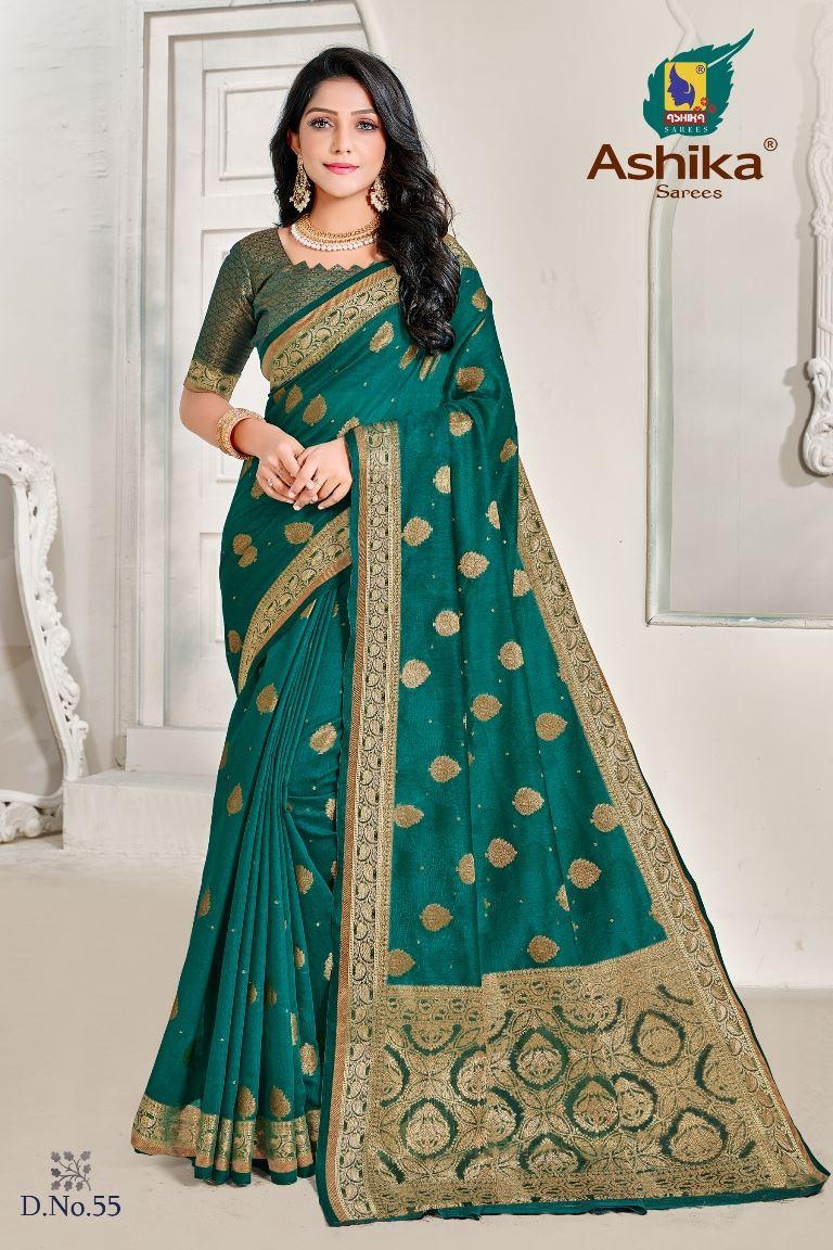 Green Colour linen Fabric Fancy Saree