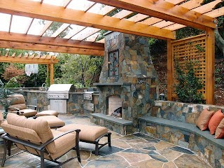 Outdoor Kitchens and Fireplaces Mediterranean Patio San