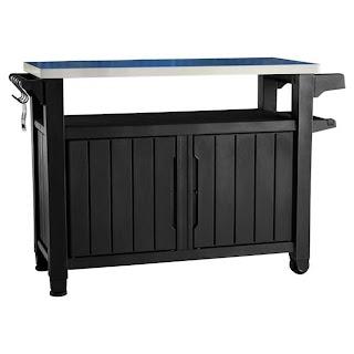 Outdoor Kitchen Storage Cart Keter Stainless Steel Top Grey 50