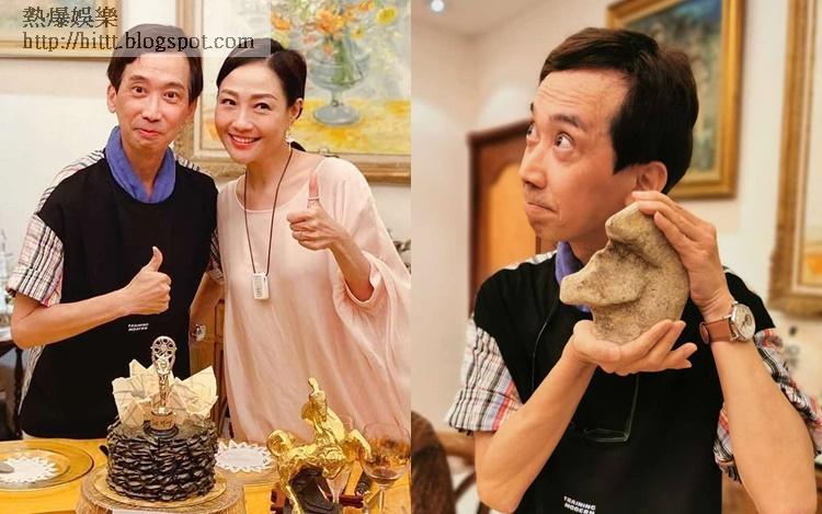 獎座未到手,楊玉梅與朋友為張達明安排小金人蛋糕慶祝。