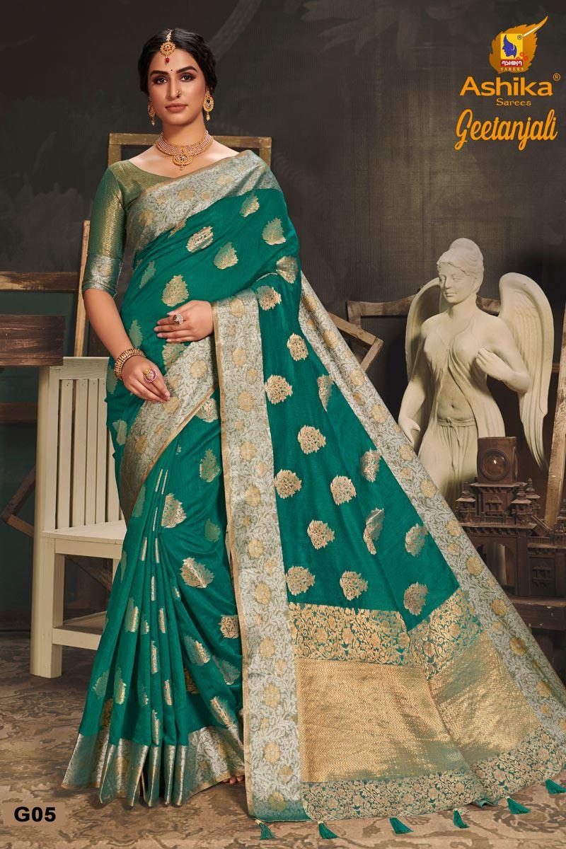Teal Color Cotton Silk Fabric Trendy Weaving Work Saree