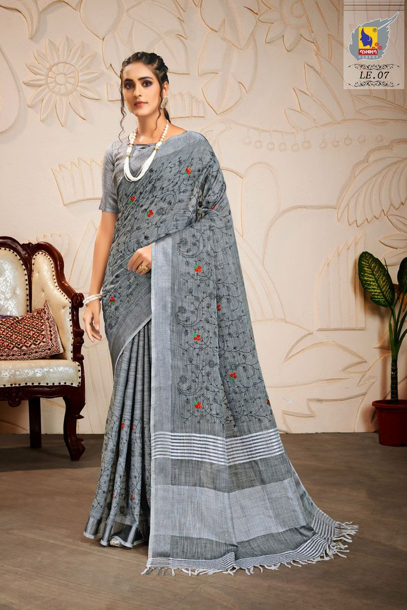 Grey Color Embroidered Linen Fabric Fancy Saree
