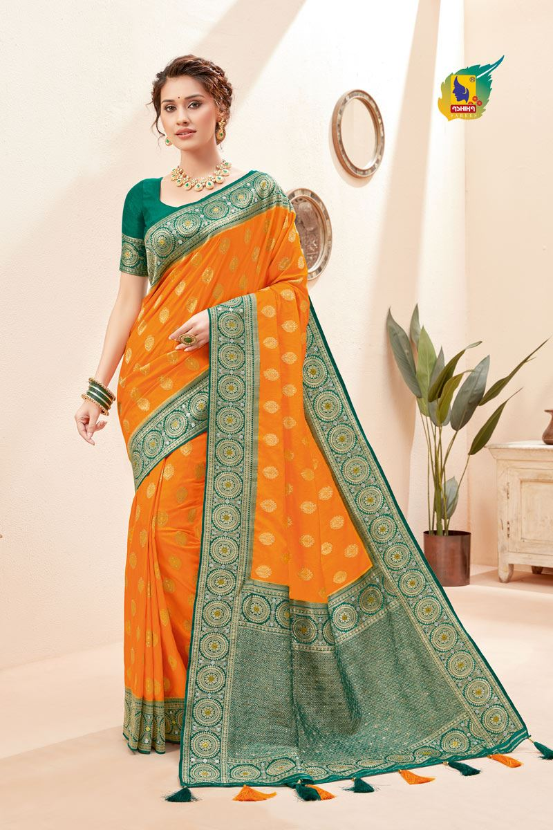 Mustard Color Silk Fabric Zari Work Sangeet Wear Fancy Saree