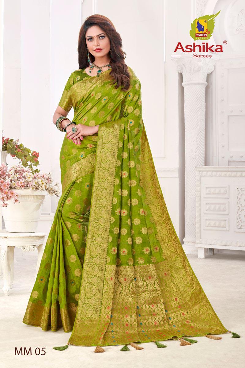 Green Color Silk Fabric Festive Wear Zari Work Saree