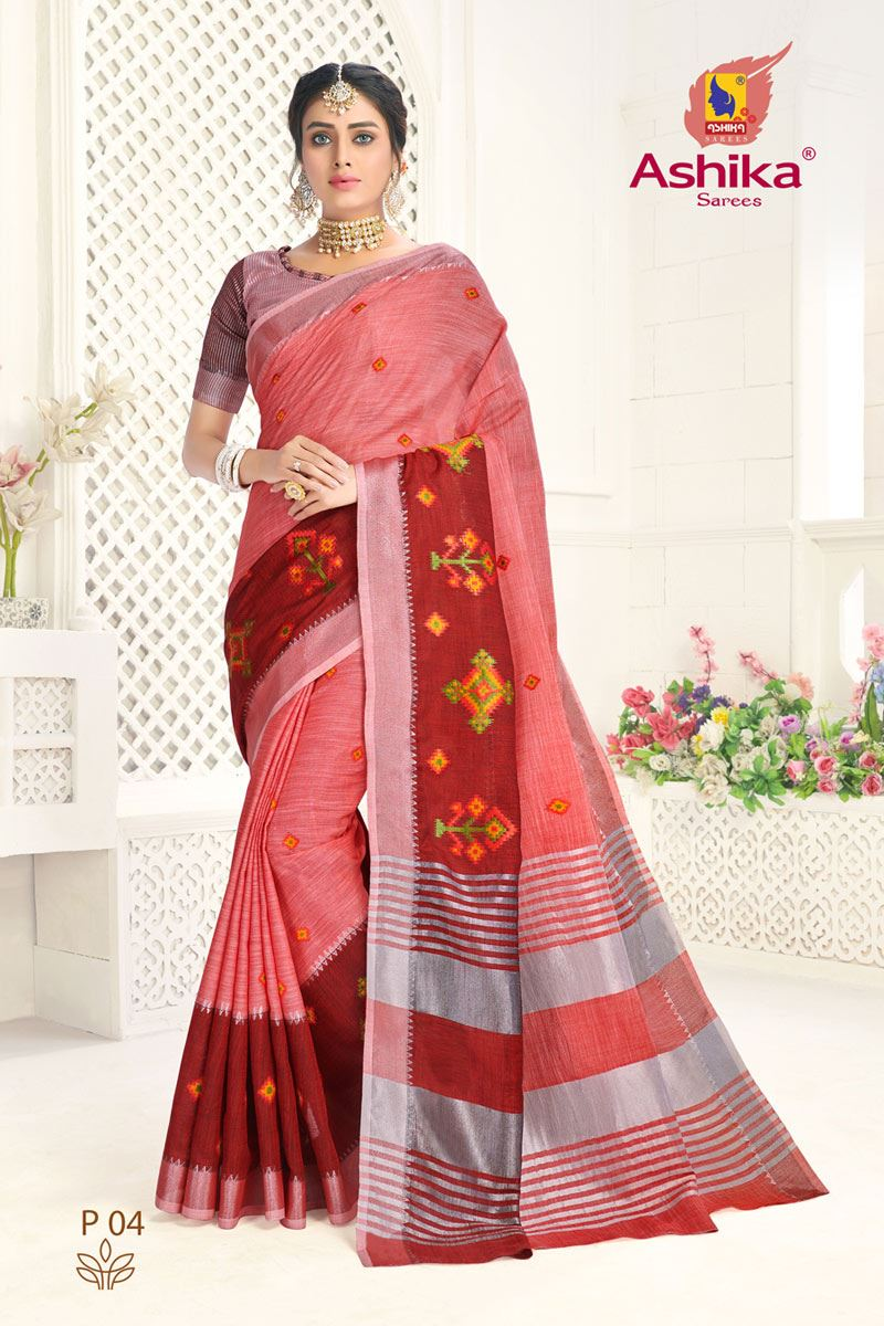 Pink Color Linen Fabric Embroidered Daily Wear Simple Saree