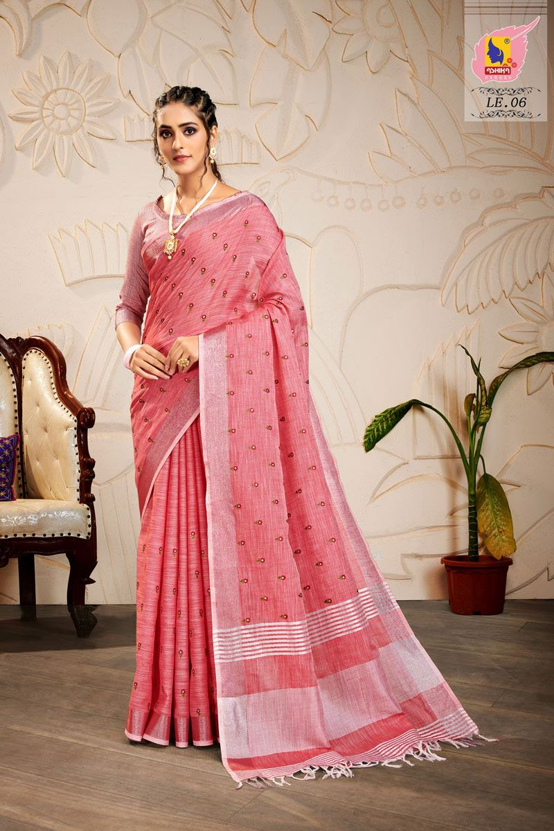 Pink Color Embroidered Linen Fabric Fancy Saree