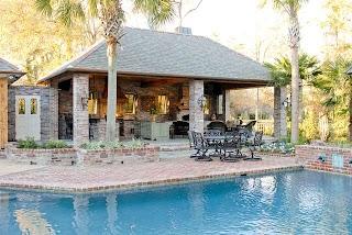 Outdoor Kitchen Pool Lake at White Oak