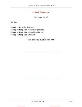 Bài Giảng Môn Lý Thuyết CAD,CAM-CNC - Ths.Nguyễn Hoài Nam, 62 Trang.pdf