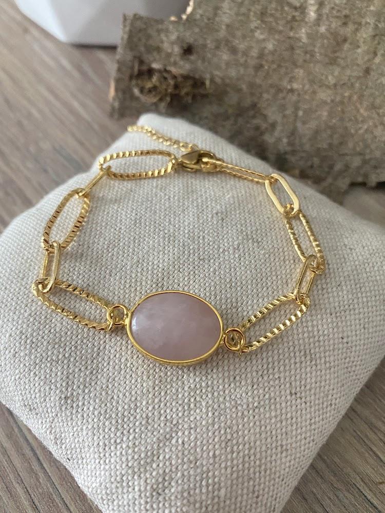 Bracelet maille large en Quartz rose