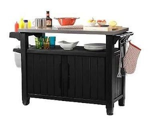 Outdoor Kitchen Storage Cart Resin Serving Station Prep Table Bbq