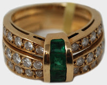 Inel aur 22k, cu 4 smaralde si 36 briliante