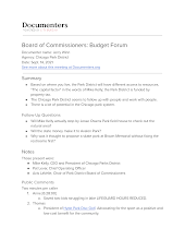 Board of Commissioners: Budget Forum