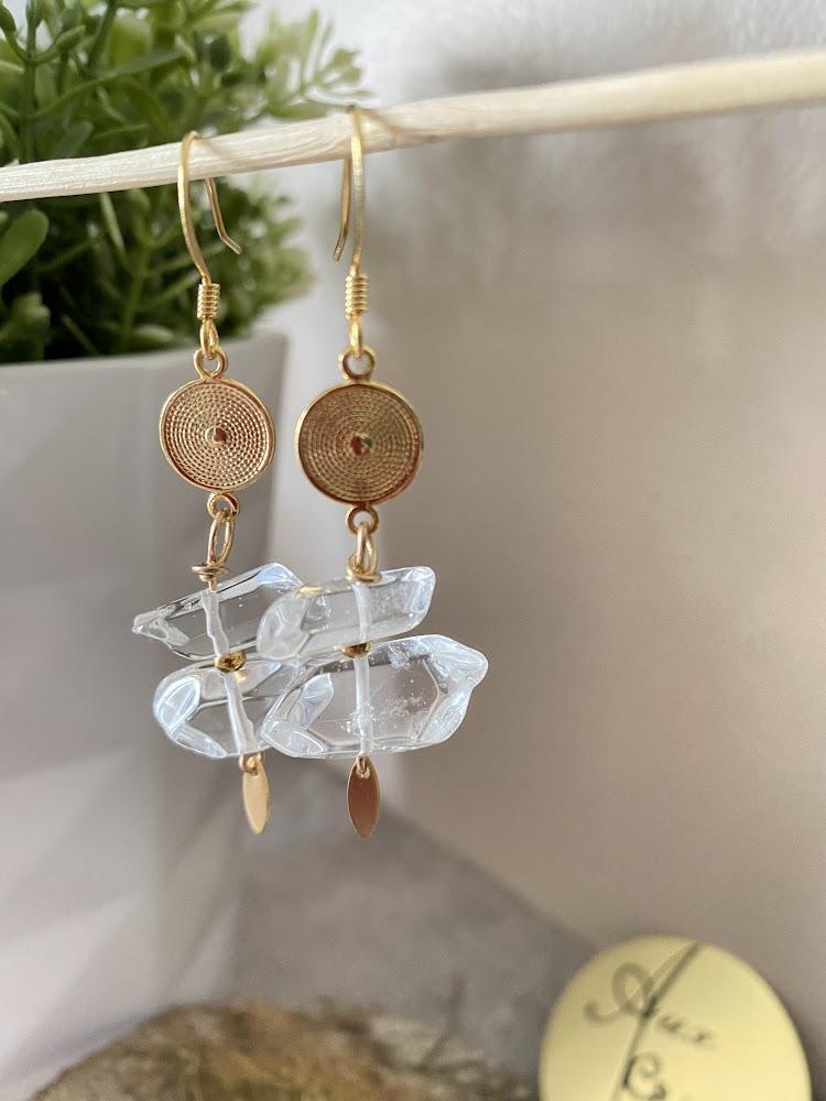 """Les Pendantes en Cristal de Roche """"Gold filled 24K"""""""