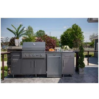 Outdoor Island Kitchen Challenger Designs 89 with Sink Grill Package