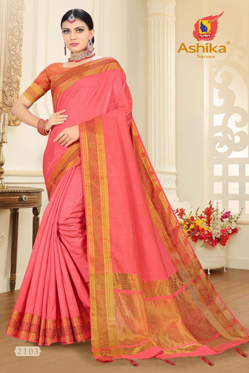 Pink Tussar Silk Fabric Function Wear Fancy Zari Work Saree