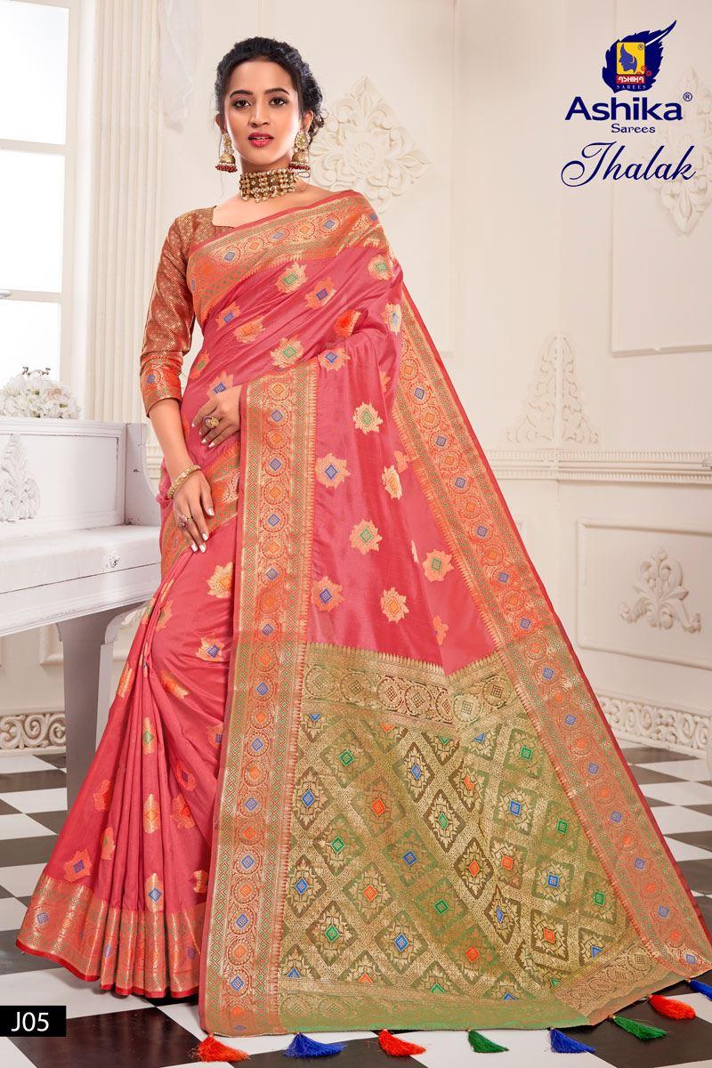 Pink Silk Weaving Work Designer Saree