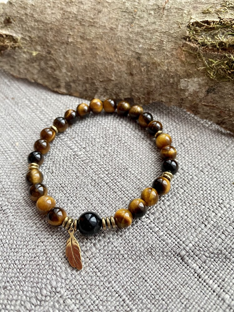 "Bracelet ""Plume"" en oeil de Tigre et Obsidienne §Protection§"