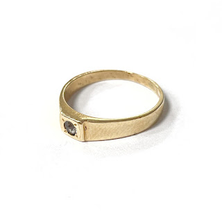14K Gold & Clear Stone Baby Ring