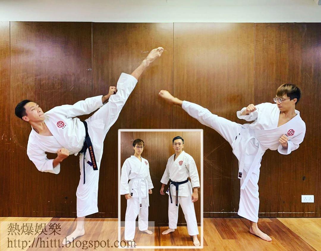坤哥跟教練着住空手道服齊齊影靚相。