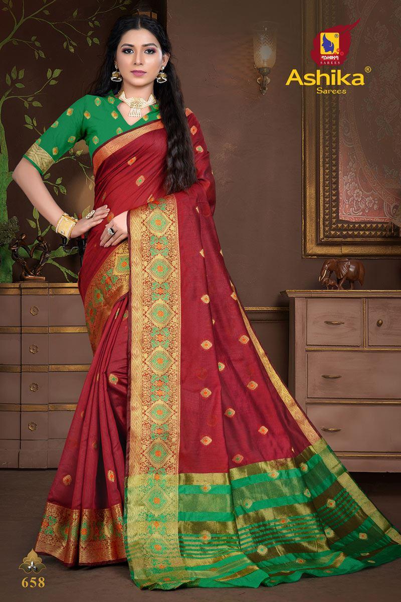 Maroon Color Cotton Silk Fabric Weaving Work Wedding Wear Saree