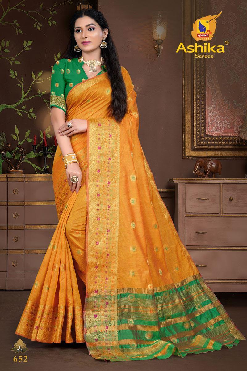 Mustard Color Cotton Silk Fabric Weaving Work Wedding Wear Saree